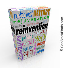 Reinvention words on a product or box or package to illustrate merchandise that has undergone a rebuild, restart, redo, rejuvenation, revitalization, rethink, rebirth, rethink or makeover