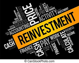 Reinvestment word cloud collage, business concept
