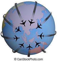 reis bestemming, luchtroute, azie