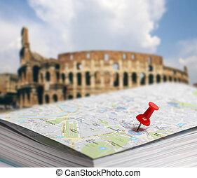 reis bestemming, rome, kaart, duuw speld, verdoezelen