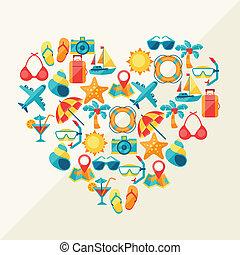 reis en toerisme, achtergrond, van, iconen, in, hart, vorm.