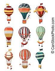reis, festival., gondola, balloon, iconen, model, lucht,...