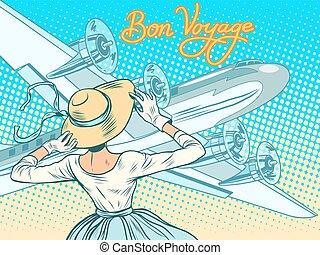 reis, meisje, escorts, vliegtuig, bon