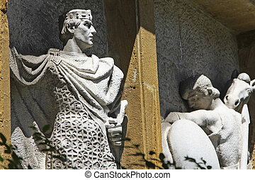 reis, pedra, anterior, esculpido