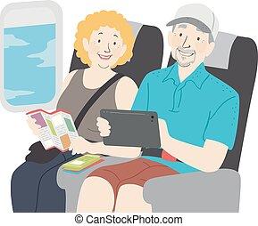 reis, schaaf, paar, senior, illustratie