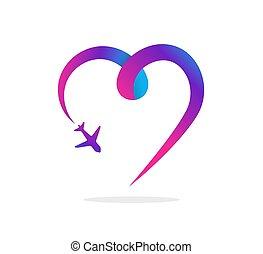 reisagentschap, toerisme, app, en, reizen, logo, avontuur, reizen, pictogram, en, element