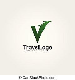 reisbureau, vector, ontwerp, brief, v, logo, paraaf