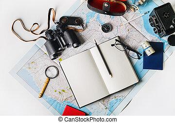 reise, accessoirs, und, posten