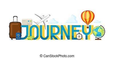 reise, begriff, abbildung, mit, tourist, posten, und, wort