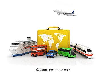 reise, concept., gelber , koffer, mit, transport, für, reise, auf, a, weißes, hintergrund., bus, auto, zug, und, schiff