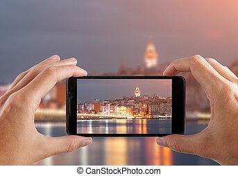 reise, concept., hände, machen, foto, von, nacht, stadt,...