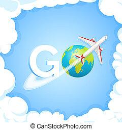 reise, concept., wort, gehen, an, blauer hintergrund, mit, flugzeug, und, globe., eben, fliegendes, ungefähr, erde, planet, mit, kontinente, und, oceans., welt reise, luft