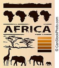 reise, design, schablone, afrikanisch