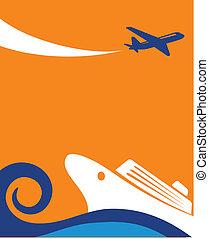 reise, hintergrund, -, segeltörn, und, motorflugzeug