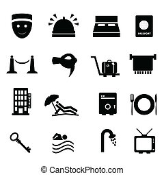 reise, hotel, satz, ikone