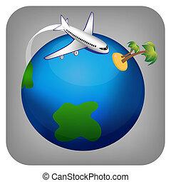 reise, ikone, motorflugzeug, vektor