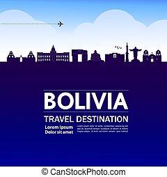 reise, illustration., bolivien, vektor, bestimmungsort,...