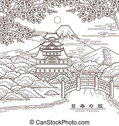 reise, japan, attraktive, plakat