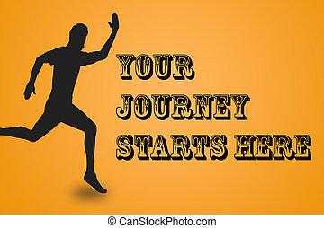 reise, mann, gelber , motivation, anfänge, hier, rennender , hintergrund, inspirational, dein, notieren, abbildung