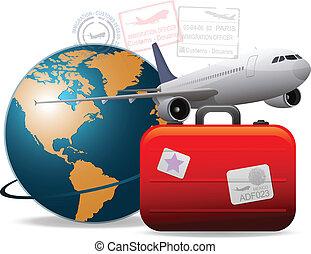 reise, motorflugzeug