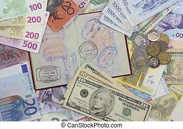 reise, reisepaß, und, geld