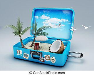 reise, sandstrand, suitcase., urlaub