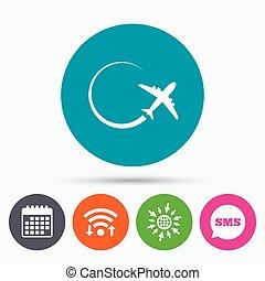 reise, symbol., zeichen, icon., motorflugzeug, reise