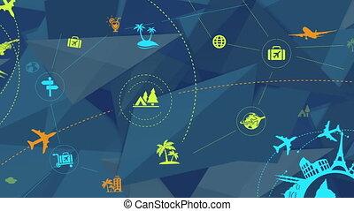 reise tourismus, abstrakt, hintergrund