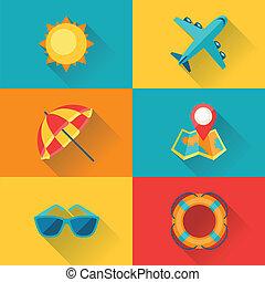 reise tourismus, ikone, satz, in, wohnung, design, style.