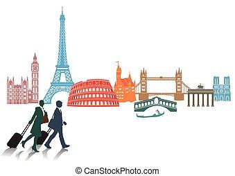 reise tourismus, in, europa