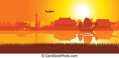 reise, ungefähr, östliches asien