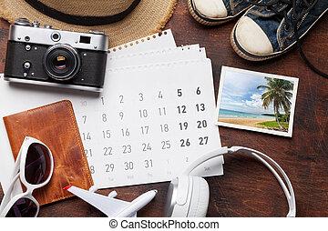 reise, urlaub, accessoirs, und, kalender
