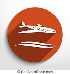 reise, vektor, motorflugzeug, ikone