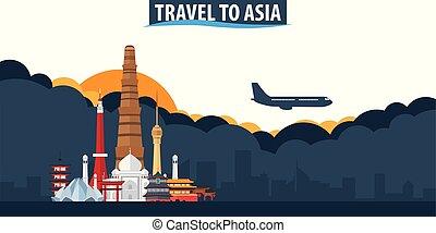 reise, zu, asia., reise tourismus, banner., wolkenhimmel, und, sonne, mit, motorflugzeug, auf, der, hintergrund.