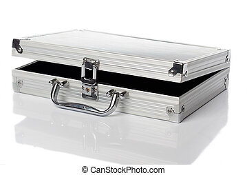reisekoffer, angelehnt, silber, links
