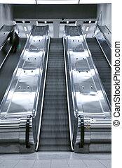 reisekoffer, aufzug, -, stufe, person