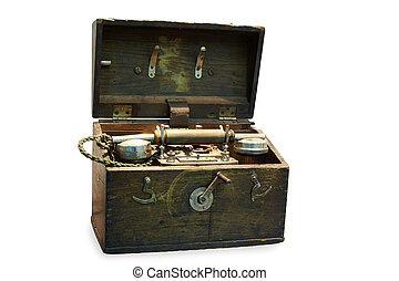 reisekoffer, hölzern, tragbar, apparat, telefon
