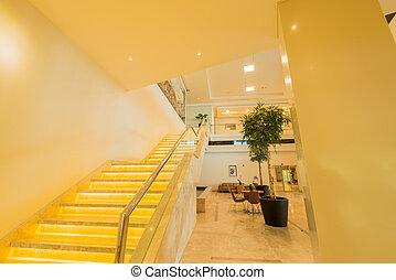reisekoffer, inneneinrichtung, hotel, modern, stufe