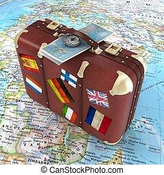 reisekoffer, reise, global