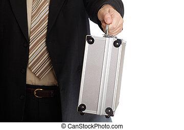 reisekoffer, silber, hand