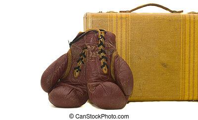 reisekoffer, suite, boxhandschuhe