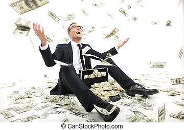 reisekoffer, voll, sitzen, werfen, geld, rich!, junger, formalwear, auf, währung, während, papier, geschäftsmann, glücklich