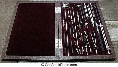reisekoffer, von, zeichnung, instruments.