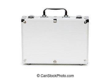 reisekoffer, weißes, metall, freigestellt, hintergrund