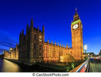 reisen, in, der, berühmt, big ben, london, vereinigtes königreich