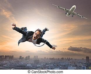 reisen, neu , fliegendes, gebrauch, glück, verrückt, mann, ...
