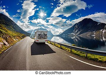 reisen, wohnwagen, highway., auto
