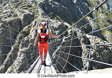 reisender, auf, thetrift, bridge., schweiz