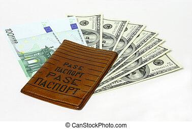 reisepaß, auf, dollar, und, euro