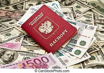 reisepaß, mit, geld